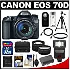 Canon EOS 70D Digital SLR Camera & EF-S 18-135mm IS STM Lens with 32GB Card + Battery + Case + Tripod + Filter + Flash + Tele/Wide Lenses + Kit