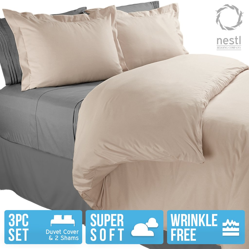 Nestl Bedding Duvet Cover, Protects and Covers your Comforter / Duvet Insert, Luxury 100% Super Soft Microfiber, Queen Size, Color Beige Cream, 3 Piece Duvet Cover Set Includes 2 Pillow Shams