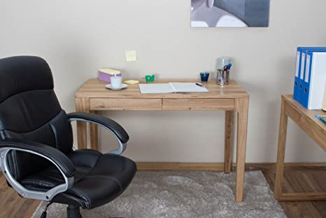Desk Wooden Nature 42, solid wild oak, organically oiled - W110 x H76 x D55 cm