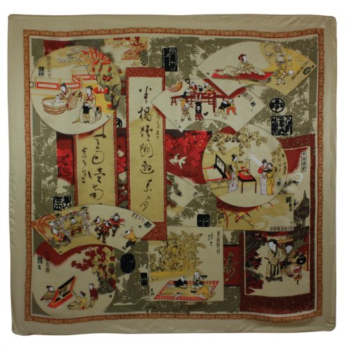 100% Satin Charmeuse Silk Traditional Chinese Painting Collage Square Scarf - Tan