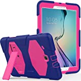 Galaxy Tab E 9.6 Case, Kickstand - Shockproof Heavy Duty Three Layer Kids Case Cover for Tab E/Tab E Nook 9.6-Inch Tablet (SM-T560/T561/T565 & SM-T567V Verizon 4G LTE Version) - Purple Pink (Color: Purple Pink)