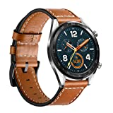 LeafBoat Compatible with Huawei Watch GT Leather Band,Replacement Buckle Strap Wristband Compatible Huawei Watch GT Smartwatch (Brown) (Color: Brown)