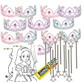 Colorful Princess Party Tiaras with Star Wand 12 per unit with coloring paper and crayons 4E's Novelty + bounce sticker