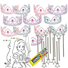 buy Colorful Princess Party Tiaras With Star Wand 12 Per Unit With Coloring Paper And Crayons 4E'S Novelty