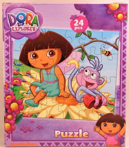 Dora the Explorer 24-Piece Jigsaw Puzzle, Boots and Dora on a Flower - 1