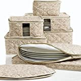 Homewear 8-Piece Hudson Damask China Storage Container Set, Tan