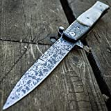 """NEW! 8"""" TAC FORCE Italian Milano Damascus Spring Assisted Open Pocket Knife"""