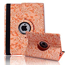 HDE Rotating iPad Case Magnetic Folding Leather Cover Folio Flip Stand for Apple iPad 2 iPad 3 iPad 4 (Peach Embossed)