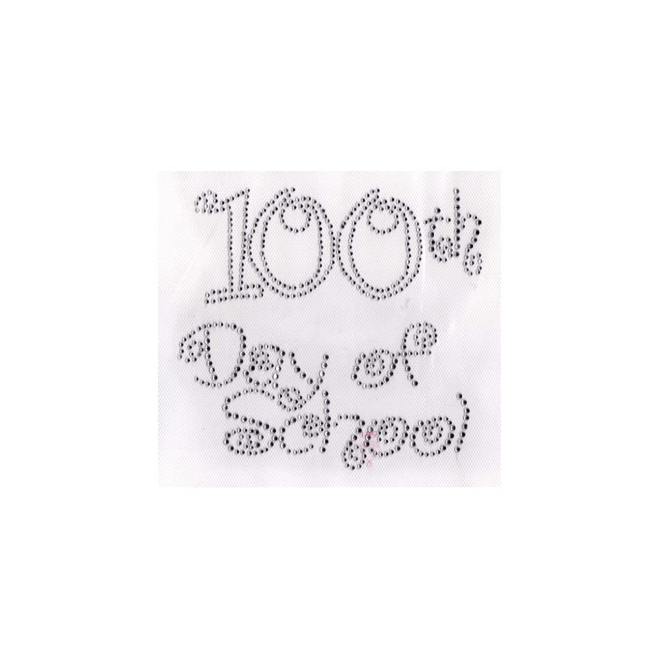 100th day of school (large) Iron On Hot Fix Rhinestone Transfer   Clear