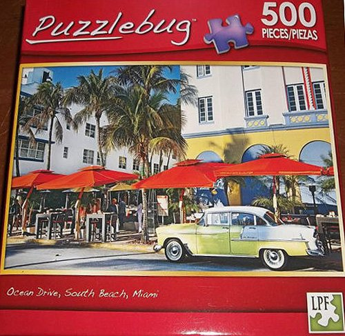 Ocean Drive, South Beach, Miami Puzzlebug 500 Piece Puzzle ~ Old Chevy - 1