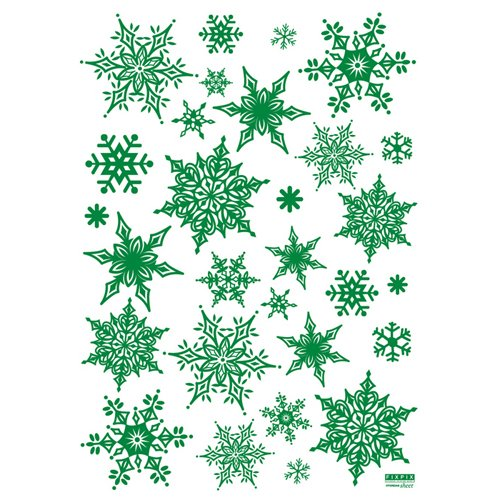 Intricate Green Glitter Snowflake - Christmas Holiday Reusable Wall Decoration Sticker