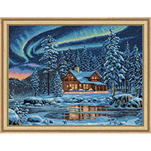 Aurora Cabin Cross Stitch