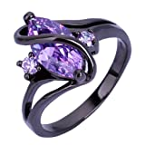 Zealmer Twisted Ring Marquise Cut Violet Crystal Statement Band Ring 10