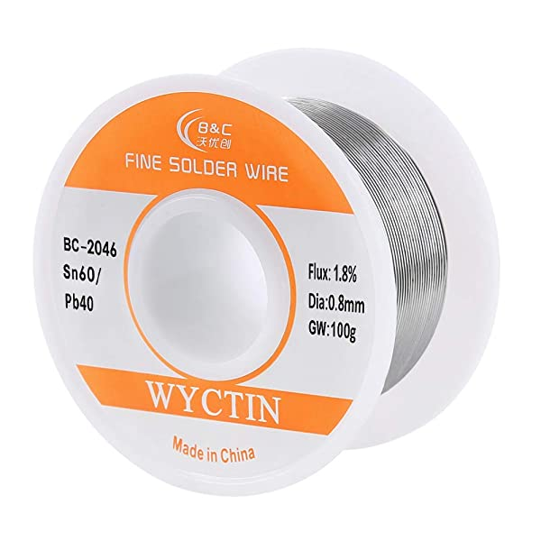 WYCTIN 0.8mm 100G 60/40 Rosin Core Tin Lead Roll Soldering Solder Wire (Color: Silvery, Tamaño: 0.8mm/100g)