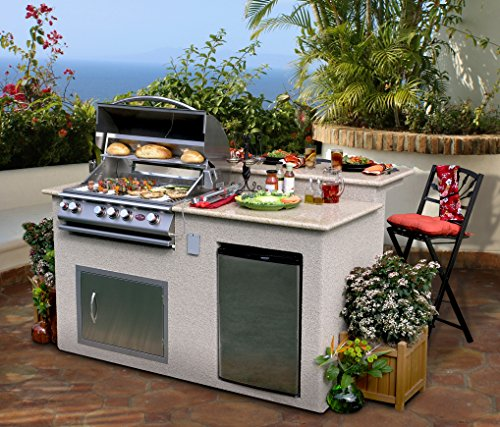 Cal Flame e6016 Outdoor Kitchen 4-Burner Barbecue Grill Island With Refrigerator (Cal Flame Fridge compare prices)