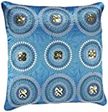 Shahenaz Home Shop Tusti Sequence 9 Circles Poly Dupion Cushion Cover - Turquoise