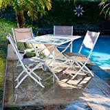RST Outdoor OP-ALFT05-WHT Miami 5-Piece Folding Patio Dining Set