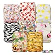 LittleBloom, Reusable Pocket Cloth Nappy, Fastener: Popper, Set of 8, Patterns 812, With 8 Bamboo Inserts, 6571