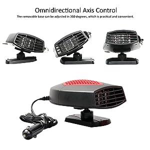 Car Heater Car Windshield Defogger Defroster 12 Volt 150W Auto Heating Fan 3-Outlet 30 Seconds Fast Heating Demister Black
