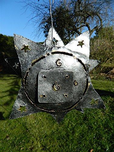 Hanging Metal Tea light Candle Holder Garden Lantern - Silver Star Sun Face Tealight