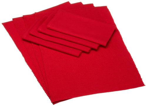 DII Boughs of Holly Cardinal Red Linens, Set of 8