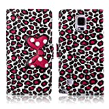 Fashion Youth Series Cute Design Bow Bowknot Leopard Print Wallet Flip Case Folio PU Leather Stand Cover with Card Slots for Samsung Galaxy Note 4 N910 + Free Lovely Gift