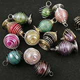 DIY Jewelry Making: 12x Stainless Steel Net Glass Pendants, Round, Mixed Color, Size: about 8-10mm in diameter, hole: about 2.5mm