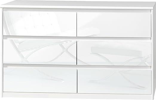 CS Schmalmöbel 75.185.012/14 Grifflose Kommode Soft Plus Smart Typ 14, 45 x 140 x 84 cm, weiß/weiß hochglanz