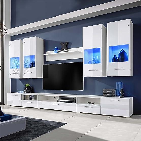 Festnight Set 8 mobili con vetrina bianco brillante unità TV e luci blu a LED
