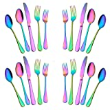 20-Piece Stainless Steel Flatware Set,Tableware Set,Dinnerware Set Service for 4, Include Knife/Fork/Spoon/Teaspoon/Fruit fork (Rainbow Multicolor (Color: Rainbow Multicolor-1)