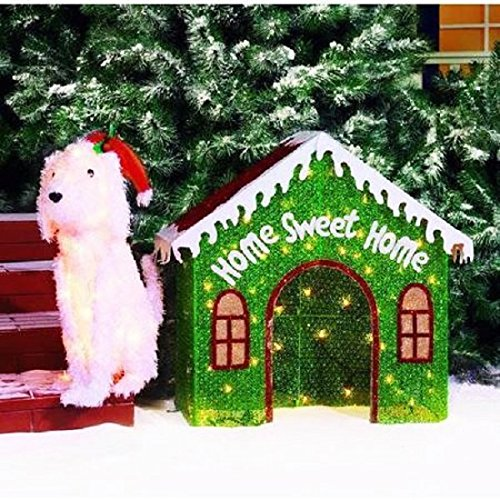 christmas lighted glittering mesh fluffy white dog and red green doghouse indooroutdoor light sculpture 2 piece set set of 2 lighted glittering mesh furry