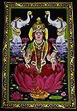 "Cotton Fabric Goddess Laxmi / Lakshmi 30"" X 43"" Tapestry India"