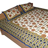 India Bedsheets Pillow Covers Handmade Cotton Floral Printed Design Queen Size ~ DakshCraft
