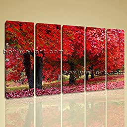 Large Contemporary Canvas Wall Art Print Picture Of Tree Fall Red Autumn HD 5 Panels Wall Art Inner Framed Ready To Hang by Bo Yi Gallery 54\