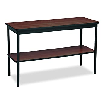 Utility Table with Bottom Shelf, Rectangular, 48w x 18d x 30h, Walnut, Sold as 1 Each