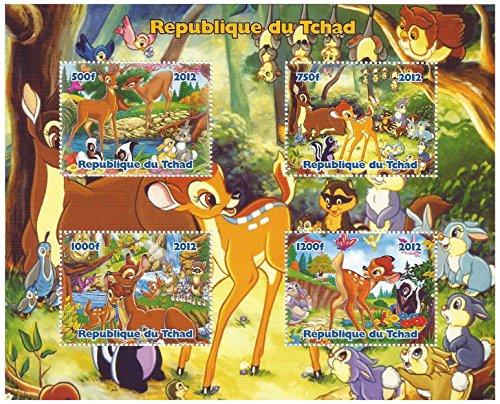 Disney Bambi feuille 4 de timbre classique pour les collectionneurs / 2012 / Tchad
