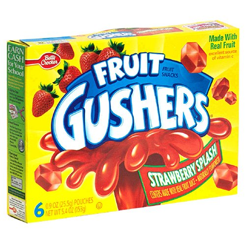 Fruit Gushers Fruit Flavored Snacks, Strawberry Splash, 6-Count, 0.9 oz. Pouches (Pack of 12)
