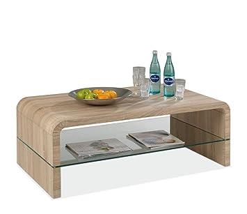 couchtisch eiche mit ablage aus glas costa 1 da464. Black Bedroom Furniture Sets. Home Design Ideas