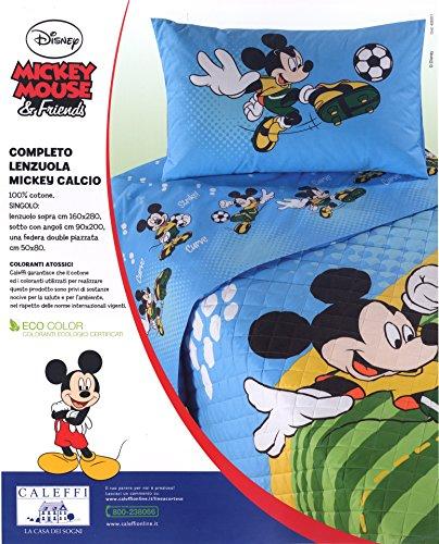 Lenzuola Caleffi Disney Topolino Set Completo Letto 3 pezzi sopra sotto con angoli federa double face puro a disegno piazzato cotone 100% prodotto italiano