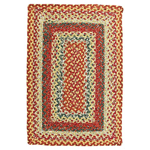 Homespice Rectangular Cotton Braided Rugs, 2-Feet 6-Inch by 9-Feet, Four in Nine Patch