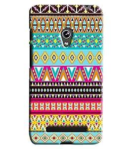 Blue Throat Triangular Pattern Printed Designer Back Cover/Case For Asus Zenfone 5