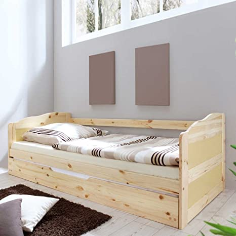 Bett mit Bettauszug Kiefer Massivholz Pharao24
