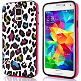 Nancy's shop Family OWL TPU Back Case Cover for Samsung Galaxy S5 I9600 G900 (Hot Pink/Colorful Leopard)