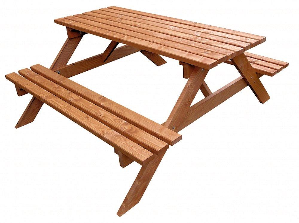 Massivholz Picknickset Sitzgruppe , Gartenbank + Gartentisch , Fb. Teak günstig