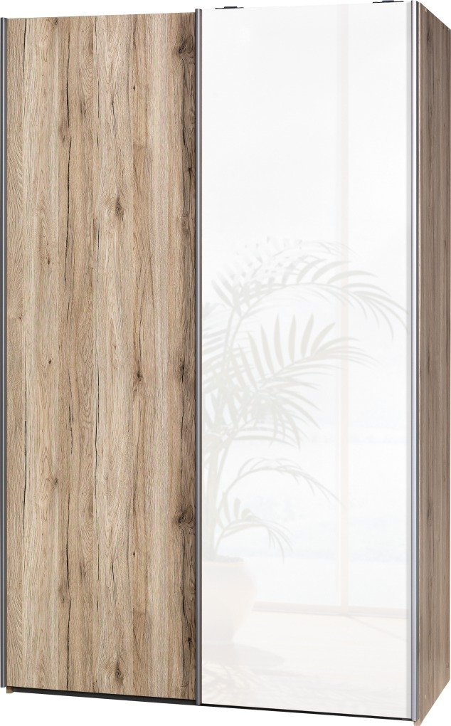 Schwebetürenschrank Soft Plus Smart Typ 42″, 120 x 194 x 61cm, Sanremo hell/Sanremo hell/Weiß hochglanz