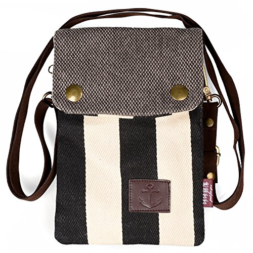 Adorable Little Purse, Katloo Super Cute Nautical Stripe Canvas Cross-body Bag Phone Pouch for iPhone 6/6S Plus Galaxy Note Series/S7 Edge+Stylus Pen (Lg 3 Accesories compare prices)