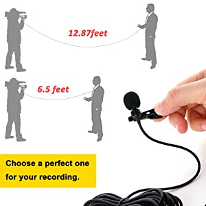 PoP Voice 12.8 Feet Lavalier Lapel Microphone Professional Grade Omnidirectional Mic Condenser Small Mini Perfect for Recording Podcast PC Laptop Android iPhone YouTube Interview ASMR External (Color: 12.8 feet single lavalier microphone)
