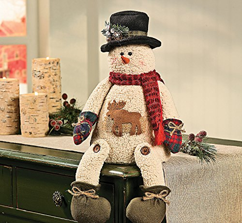 Plush Sitting Snowman W/ Moose - Christmas Decor front-1073680