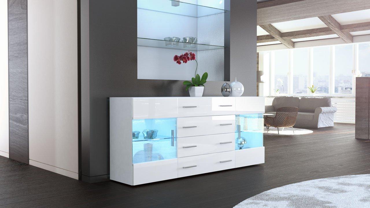 Sideboard Kommode Bari V2 in Weiß / Weiß