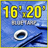 16 X 20 Blue Multi-Purpose 6-mil Waterproof Poly Tarp Shade Cover 16x20 Tarpaulin by Grizzly Tarps